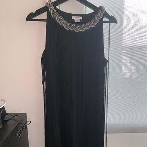 black mini dress with chain
